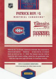 Panini Classics Signatures Banner back Roy