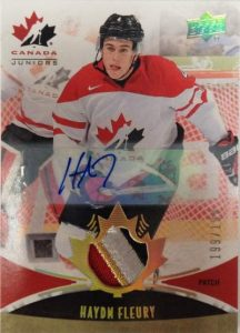Team Canada Juniors Patch Auto Hayden Fleury