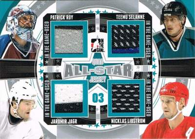 Game Used All Star Quad Roy, Jagr, Selanne, Lidstrom