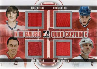 Game Used captain C Quad Savard, Beliveau, Chelios, Carbonneau