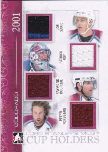 Lord Stanley's Mug Cup Holders Limited Quad Joe Sakic, Patrick Roy, Ray Bourque, Peter Forsberg