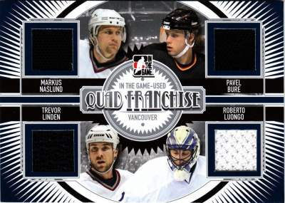 Game Used Quad Franchise Naslund, Linden, Bure, Luongo