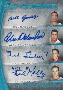 Leaf Ultimate Quad Signatures Gadsby, Delvecchio, Lindsay, Kelly