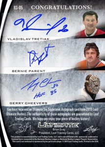 Leaf Ultimate Six Signatures Back Vladisav Tretiak, Bernie Parent, Gerry Cheevers
