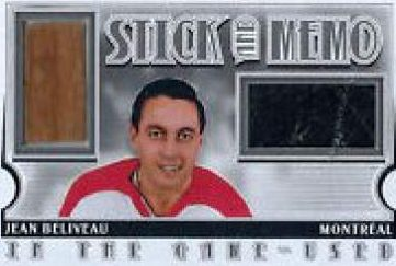 Game Used Stick Memo Limited Jean Beliveau
