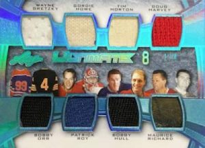 Leaf Ultimate 8 Relics Gretzky, Orr, Howe, Roy, Horton, Hull, Harvey, Richard