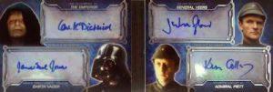 Masterwork Quad Autograph Booklet Darth Vader, Emperor, General Veers, Admiral Piett