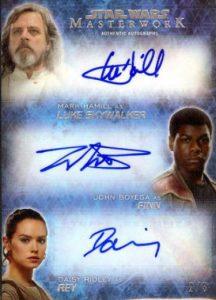 Masterwork Triple Autographs Luke Skywalker, Finn, Rey AKA Mark Hammil, John Boyega, & Daisy Ridley