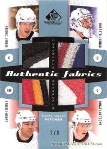 Authentic Fabrics Quads Patch Sidney Crosby, Roberto Luongo, Jarome Iginla, Jonathan Toews