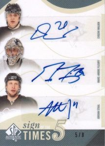 Sign of the Times Fives Front Evgeni Malkin, Marc-Andre Fleury, Jordan Staal