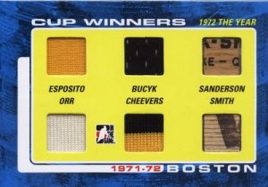 71-72 Cup Winners Phil Esposito, Johnny Bucyk, Geoff Sanderson, Bobby Orr, Gerry Cheevers, Billy Smith