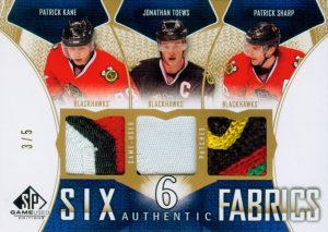 Authentic Fabrics Sixes Patches Front Patrick Kane, Jonathan Toews, Patrick Sharp