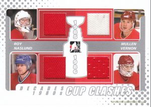 Cup Clashes Patrick Roy, Mats Naslund, Joe Mullen, Mike Vernon