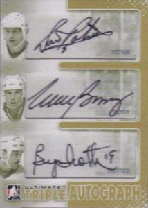 Triple Autograph Gold Denis Potvin, Mike Bossy, Bryan Trottier