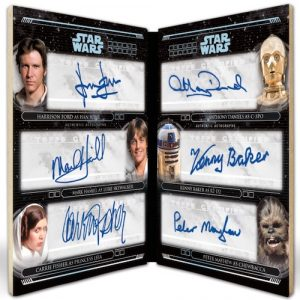 Six Person Auto Harrison Ford, Mark Hamill, Carrie Fisher, Anthony Daniels, Kenny Baker & Peter Mayhew