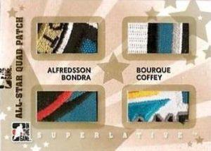 All-Star Quad Patch Gold Daniel Alfredsson, Peter Bondra, Ray Bourque, Paul Coffey