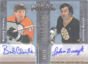 Duos Signatures Bob Clarke, Johnny Bucyk