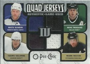 Quad Materials Mike Modano, Mark Recchi, Teemu Selanne, Mats Sundin