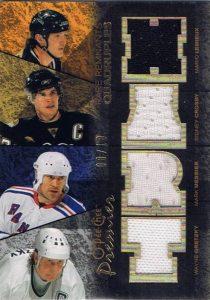 Rare Remnants Quad Mario Lemieux, Sidney Crosby, Mark Messier, Wayne Gretzky