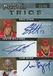 Trio Signatures Eric Staal, Justin Williams, Cam Ward
