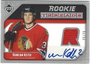 Auto Rookie Threads Duncan Keith