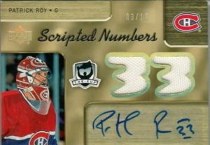 Scripted Numbers Dual Front Patrick Roy