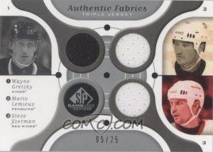 Triple Authentic Fabrics Wayne Gretzky, Mario Lemieux, Steve Yzerman