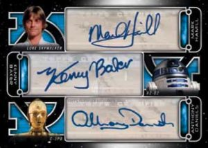 Triple Auto Mark Hamill as Luke Skywalker, Kenny Baker as R2-D2, Anthony Daniels as C-3PO