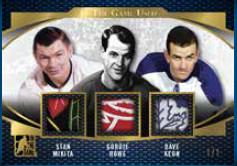 Triple Game Used Patch Stan Mikita, Gordie Howe, Dave Keon