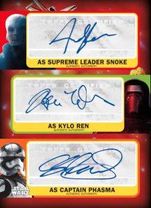 Triple Autographs Snoke, Kylo Ren, Captain Phasma
