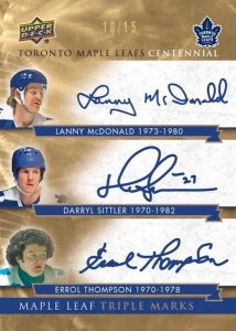 Maple Leafs Marks Triple Lanny McDonald, Darryl Sittler, Errol Thompson