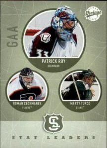 Stat Leaders Patrick Roy, Roman Cechmanek, Marty Turco