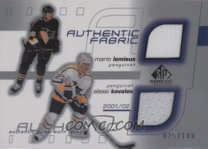 Double Authentic Fabric Mario Lemieux, Alex Kovalev