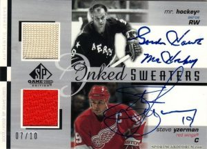 Dual Inked Sweaters Gordie Howe, Steve Yzerman