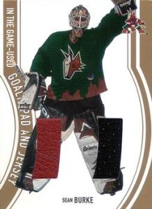 Game-Used Goalie Pad and Jersey Gold Sean Burke