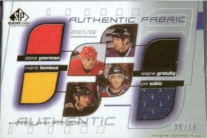 Quad Authentic Fabric Steve Yzerman, Mario Lemieux, Wayne Gretzky, Joe Sakic