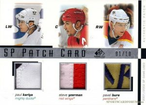 SP Triple Patch Card Paul Kariya, Steve Yzerman, Pavel Bure