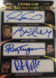 Ultimate Signatures 8 Front Jeremy Roenick, Brett Hull, Pierre Turgeon, Ray Bourque