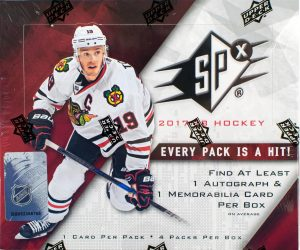 3b77bd14fe8 2017-18 SPx is a hockey product released by Upper Deck that follows a  format of 1 card per pack, 4 packs per box. This means that there is plenty  of big hit ...