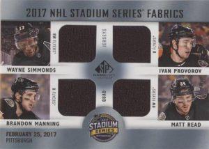 2017 NHL Stadium Series Fabrics Quad Wayne Simmonds, Ivan Provorov, Brandon Manning, Matt Read