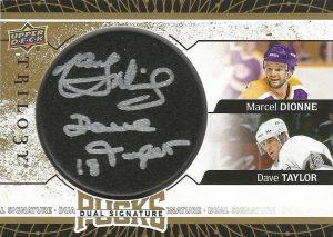 Dual Signature Pucks Marcel Dionne, Dave Taylor