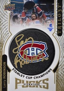 Stanley Cup Champions Signature Puck Logo Larry Robinson
