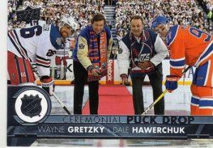 Ceremonial Puck Drop Wayne Gretzky, Dale Hawerchuk