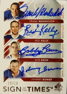Sign of the Times 4 Frank Mahovlich, Red Kelly, Bob Baun, Johnny Bower