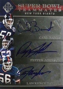 Super Bowl Teammates Triple Signatures Carl Banks, Pepper Johnson, Lawrence Taylor
