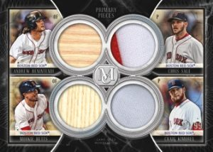 Four Player Primary Pieces Quad Relics Andrew Benintendi, Chris Sale, Mookie Betts, Craig Kimbrel