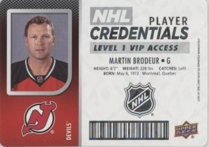 NHL Player Credentials Level 1 VIP Access Martin Brodeur