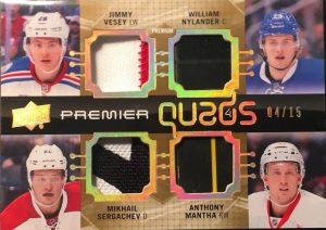 Premier Quads Premium Materials Jimmy Vesey, William Nylander, Mikhail Sergachev, Antyhony Mantha