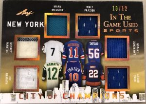 City of Champions Relics Joe Namath, Mickey Mantle, Mark Messier, Walt Frazier, Lawrence Taylor, Mike Bossy