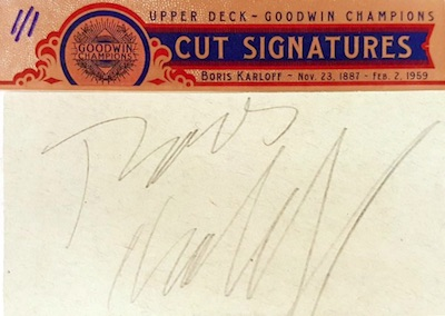 Cut Signatures Boris Karloff